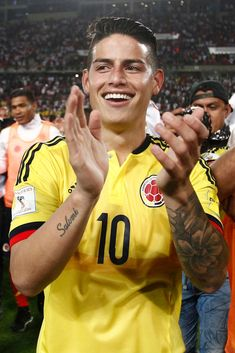 James Rodriguez of Colombia celebrates the qualifying to the World...
