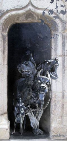 Cerberus, the three headed dog. I want three dogs to guard my palace as well; they shall be Titus, Goliath, and Dakken