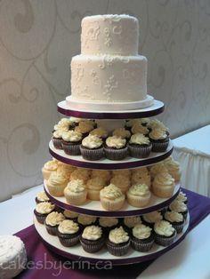 White Pearl Wedding Cupcake Tower