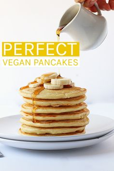 Wake up to these perfect Vegan Pancakes. Light, fluffy, and slightly sweetened with maple syrup, this is a breakfast worth getting out of bed for. Ready in 10 minutes. #vegan #pancakes #veganrecipes #veganbreakfast #easyvegan