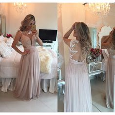 Find More Evening Dresses Information about High Neck Chiffon Long Evening Dress A Line Sleeveless Zipper See Through Back Evening Gown With Appliques Beading ,High Quality gown red,China dress ball gown Suppliers, Cheap gown prom dress from Amanda's Dress House on Aliexpress.com