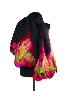Felted Scarf Black scarf Nunofelt Scarf Art Wrap Artistic Shawl Nuno felt Scarves Felt