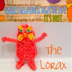 Rainbow Loom THE LORAX. Designed and loomed by Ann Marie Grieco. Rainbow Loom FB page. 03/14/14.
