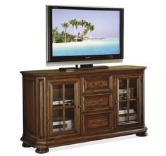 "Riverside Furniture - Seville Square 60"" High Waist TV Console Warm Oak finish"