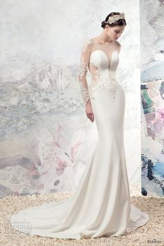 long sleeves illiusion jewel split neckline sexy fit and flare weddng dress lace low back chapel train (1670l) gregory) mv
