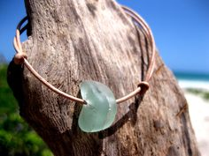 Hawaiian Aqua Blue Bonfire Beach Glass on India Leather Cord Completely Adjustable & Stackable Bracelet by LindseysBeachGlass, $20.00