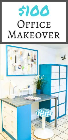 Can you believe this office makeover only cost $100? By combining a Kallax I already had with a Rast I painted with a few planks of wood, I was able to make a functional desk area!