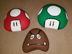 Super Mario rock painting. I will work on super Mario and Luigi next. Possibly the bullet guy. Toad. Koopa. Possibly some Troopas. Rock Painting Ideas Easy, Rock Painting Kids, Paint Ideas, Painting Tips, Painting Art, Mario Crafts, Pebble Painting, Pebble Art, Stone Painting