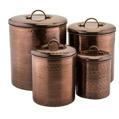 Antique Hammered Copper Canisters, Set of 4 ($90) ❤ liked on Polyvore featuring home, kitchen & dining, food storage containers, food canisters, copper canisters and copper cannisters