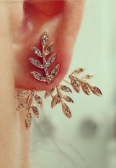 "Warrior Fern"" ear jackets in diamond & rose gold 