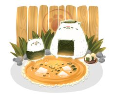 Seaweed wraps and miso dips! (´Д`*)http://www.pixiv.net/member.php?id=4906888https://www.facebook.com/tabeneko