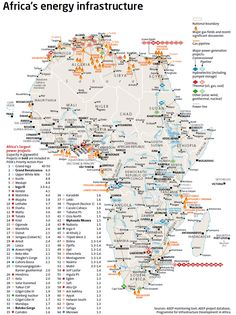 Africa energy infrastructure by AEEP #map #africa #energy