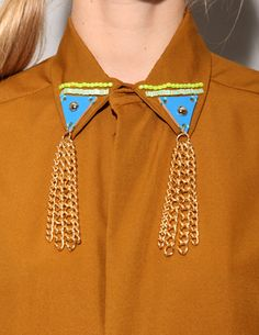 mustard shirt with collar detail