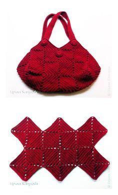 Crochet squares bag - chart & instructions ༺✿Teresa Restegui http://www.pinterest.com/teretegui/✿༻