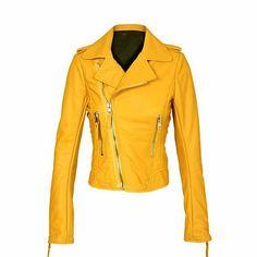 Yellow Women Brando Biker Leather Jacket-Women - Apparel - Outerwear - Jackets-Look Love Lust Biker Leather, Leather Skin, Leather Jackets, Real Leather, Balenciaga Jacket, Brown Fashion, Punk Fashion, Style Fashion, Classic Fashion