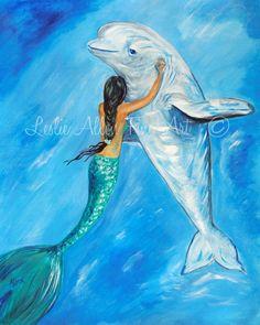 Mermaid Art Mermaid Wall Art Mermaid Art by LeslieAllenFineArt