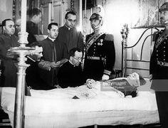 Cardinal Carlo Confalonieri, Monsignor Diego Venini, Monsignor Giovanni Battista Nasalli Rocca di Corneliano and Monsignor Federico Callori di Vignale assisting Pope Pius XI on his deathbed. Vatican City, 10th November 1939