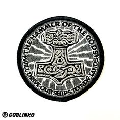 HAMMER OF THE GODS EMBROIDERED PATCH FROM THE GOBLINKO MEGAMALL - LED ZEPPELIN ODINISM ASATRU THOR MJOLNIR ODIN
