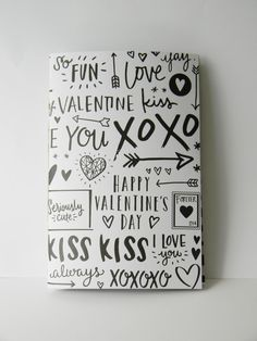 Black and White Valetine's Day Printed Journal by CaliClothShop  #valentinesday #printedjournal #wordjournal #happyplanner #valentinesdaystationary #lovenotes #sketchbook #printednotebook #californiacloth