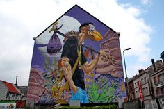Wall paints, Muurschilderingen, Peintures Murales,Trompe-l'oeil, Graffiti, Murals, Street art.: Gent - Belgium Squid called Sebastian