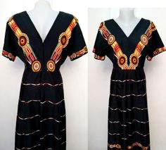 Vintage 70s Boho Maxi African orange red print by DorisVintage