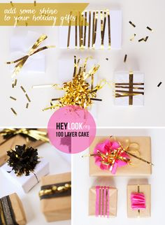 Hey Look - Event styling, design inspiration, DIY ideas and more: DIY: SHINY GIFT WRAPPING