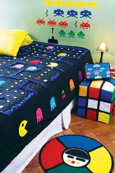 Jogo de quarto retrô - Colcha Pacman em patchwork via Arteblog
