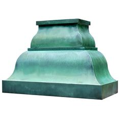 farmhouse copper range hood with oxidized green patina