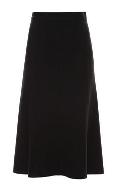 Женская чёрная шерстяная юбка а-силуэта с прострочкой M Missoni, сезон FW 16/17, арт. LD0RA235/19A купить в ЦУМ | Фото №1