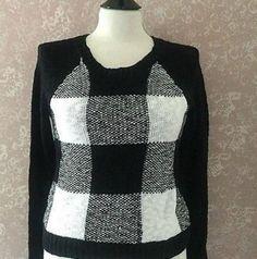 So Authentic Pullover Sweater Colorblock Black White Check Womens Small S New #SOAuthenticAmericanHeritage #Crewneck