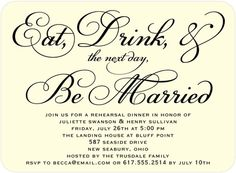 Signature Ecru Rehearsal Dinner Invitations - Chic Celebration by Wedding Paper Divas