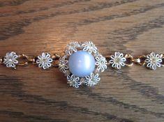 Vintage enamel and rhinestone flower choker by vintagejewelryetal