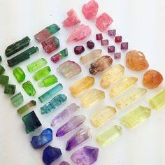 rainbow of crystal stones