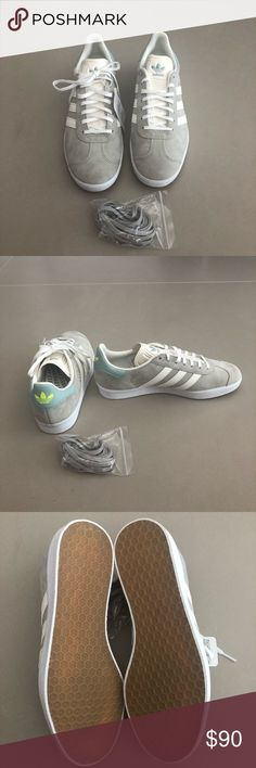 newest 7a20d 82089 Brand New Adidas Gazelle customized size 8.5 Custom gray with baby blue  leather and hot yellow