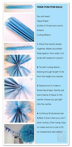 Party Tissue Pom Pom Ball tutorial