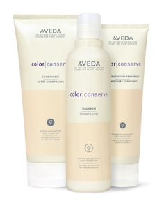 AVEDA Color Conserve Shampoo, Color Conserve Conditioner, Color Conserve Strengthening Treatment (deep conditioner), Color Conserve Daily Color Protect (leave-in conditioner)... designed to protect color and prevent fading... enriched with wintergreen derived oil