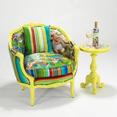 Painted Chair frame just adds a great counterpoint to the vibrant pattern active fabrics. Nice panted table too! Funky Furniture, Art Furniture, Colorful Furniture, Upholstered Furniture, Upcycled Furniture, Glass Chair, Decor Market, Adirondack Chairs For Sale, Outdoor Dining Chairs