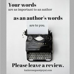 Authors can't say this enough. We are small businesses, and we need your support. Reviews are a great way to help.