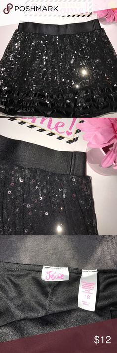 """Justice Skirt •Gently used condition • Built-In shorts • Length approximately 14"""" • Waist approximately 14"""" • Silver Sequined • Justice Bottoms Skirts"""
