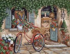 A 540 pieces jigsaw puzzle from Jigidi Bicycle Painting, Bicycle Art, Napkin Decoupage, Decoupage Paper, Landscape Quilts, Puzzle Art, Vintage Roses, Picture Wall, Watercolor Paintings
