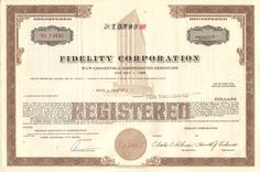 Affordable investing collectible - Fidelity Corporation bond certificate Headquartered in Richmond Virginia, the company is now part of International Paper. Money Frame, Dashboard Interface, Holding Company, Retro Vector, Paper Companies, Richmond Virginia, Vector Design, Fun Ideas, Vignettes