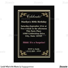 Look Who's 80 Photo 5x7 Paper Invitation Card