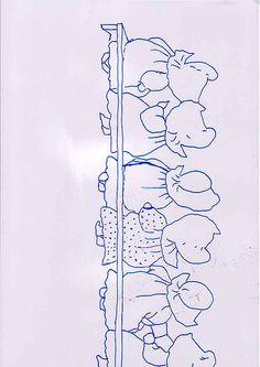 Sunbonnet Babies - Ten of us all in a row - left half pattern, via Flickr.