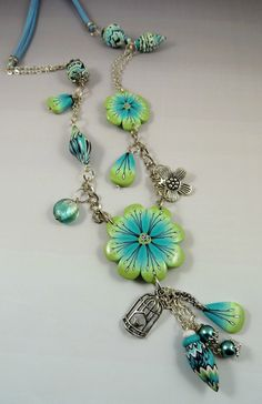 Lovely polymer clay and chain necklace via creasof.canlblog.com