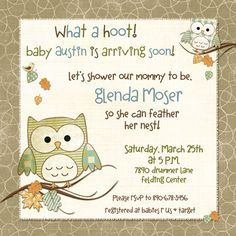 Cute Hoot Owls Baby Shower Invitation - Nature Nursery