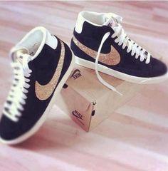 shoes nike blazers women sneakers nike black pearls glitters studs cute