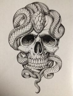 And Snake Tattoo Tattoos Piercings Jetzt kaufen! Snake Tattoos … And Snake Tattoo Tattoos Piercings Get it now! Skull Tattoo Design, Skull Tattoos, Body Art Tattoos, Sleeve Tattoos, Tattoo Designs, Tatoos, Men Tattoos, Skull Design, Snake Sketch