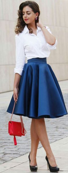 Black Heels White Button-up Blue A-skirt Fall Street Style women fashion outfit clothing stylish apparel closet ideas Trendy Dresses, Nice Dresses, Casual Dresses, Casual Outfits, Dress Outfits, Fashion Dresses, Dress Up, Blue Skirt Outfits, Shirt Outfit