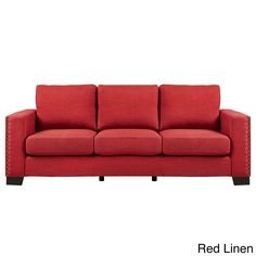 Torrington Linen Nailhead Track Arm Sofa by Inspire Q (