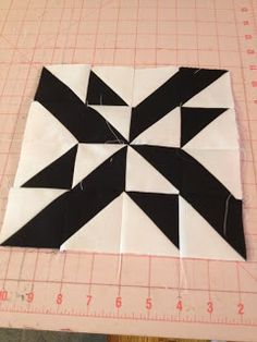 knit n lit: Modern Half-Square Triangle Quilt-a-Long Block 16